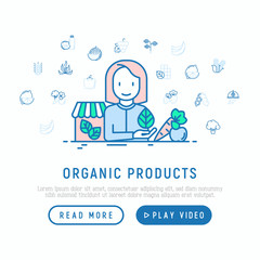 Organic shop concept: woman with vegetables. Thin line icons: corn, peas, raw cafe, broccoli, grapes, sprouts, seaweed, watermelon, bananas, fresh juice. Vector illustration, web page template