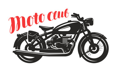Motorcycle, motorbike silhouette. Moto club logo or label. Vector illustration