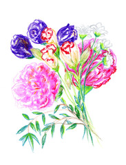 Beautiful bouquet of flowers drawn by hand