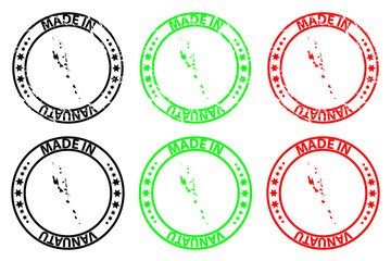 Made in Vanuatu - rubber stamp - vector, Vanuatu map pattern - black, green and red