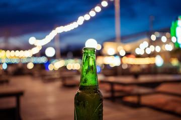 Cold beer bottle.