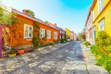 Bakklandet , old neighbourhood in Trondheim, with small wooden houses and narrow streets. it is among the major tourist attractions in the city.
