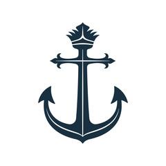 Royal anchor icon, nautical symbol