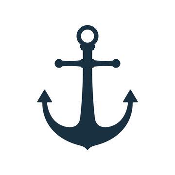 Simple anchor icon, nautical symbol