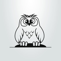 black and white simple flat art cartoon owl symbol