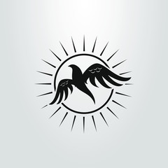black and white simple flat art abstract bird icon on the background of the sun
