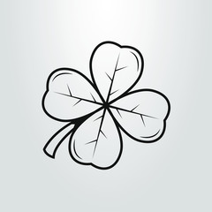 black and white simple flat art vector four-leaf clover symbol
