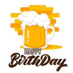 Happy birthday hand lettering with beer