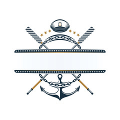 Nautical label; anchor, oar, anchor chain, captains hat icons
