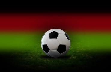 Fussball auf dem Rasen. Konzept zu Fussballspielen. Im Hintergrund die Deutschlandfarben Schwarz, Rot und Gold.