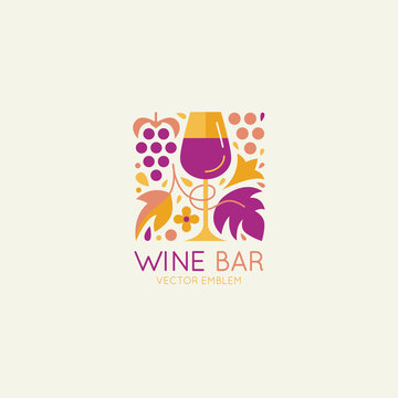 Vector logo design element and icon for wine packaging