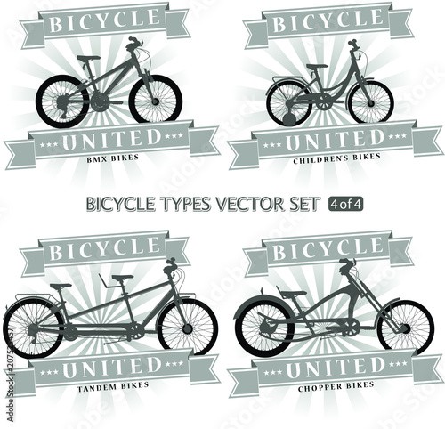 Types of bicycles in the form of silhouettes. Bikes are located on ...