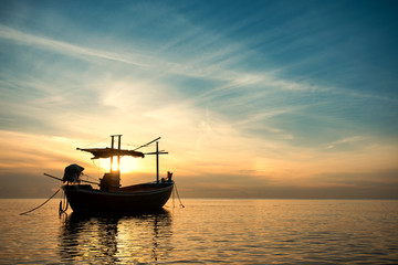 Sunset Over the Sea with Fishing Boat , Beautiful Nature Background from Hua Hin , Thailand