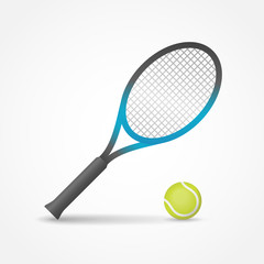 Tennis racket and ball isolated on white background. Vector illustration.