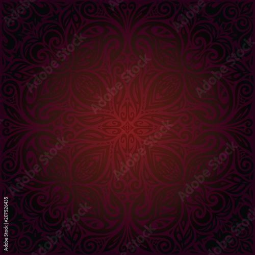 Dark Brown Red Mandala Wallpaper Floral Vector Design Background