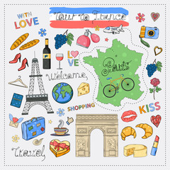 Tour to France icon set.Hand draw