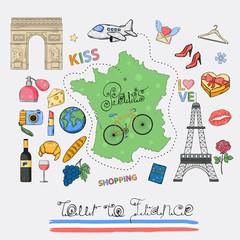 Tour to France icon set.