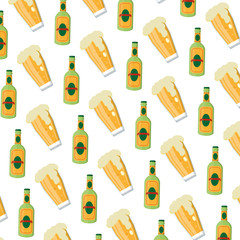 schnapps liquor bottle and beer glass background