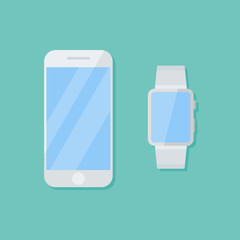 White smartphone and smart watch isolated on background. Flat style icon. Vector illustration.