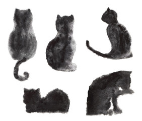 Watercolor collection of black cats