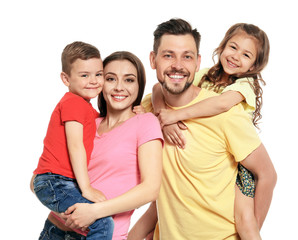 Portrait of happy family with children on white background