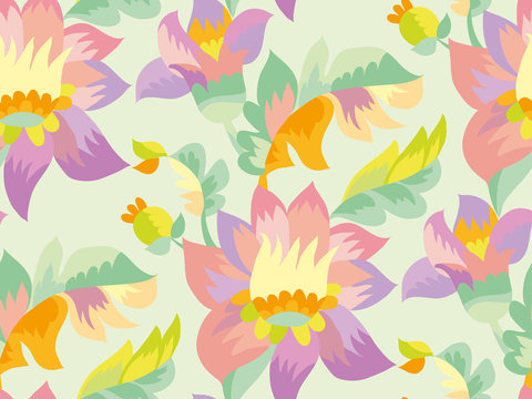 Pale color tender naive seamless pattern.