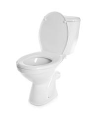 New ceramic toilet bowl on white background
