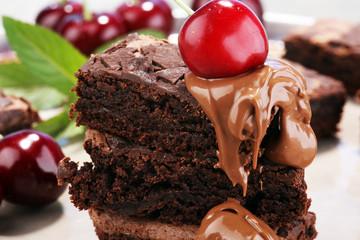 homemade chocolate brownies on rustic table. brownie bakery.