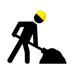 Under construction warning sign. Vector stickman with yellow helmet shoveling.