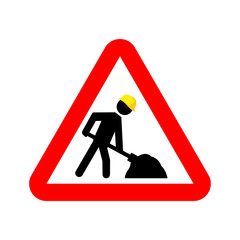 Under construction warning sign. Vector stickman with yellow helmet shoveling in red rectangle.