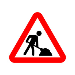 Under construction warning sign. Vector stickman shoveling in red rectangle.