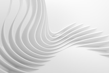 Fotobehang - White Wave Background. Abstract Minimal Exterior Design