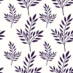 Floral background with silhouette of leaves, seamless pattern, vector illustration