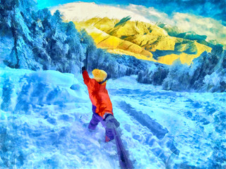 Snowboarder doing selfie with action camera on a stick. Stunning snow mountains in the background. Photo in watercolor style.