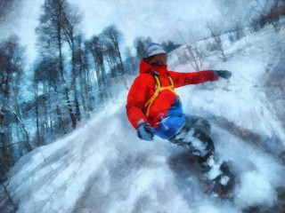 Man rides on a snowboard, among the trees. Watercolor Painting.