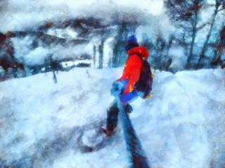 Man rides on a snowboard, among the trees. Take a selfie. Watercolor Painting.