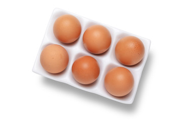 Eggs in ceramic tray