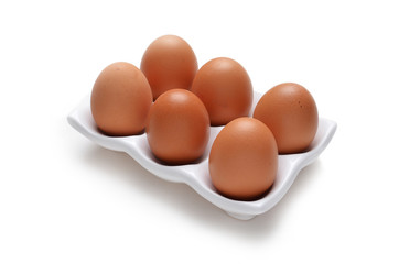 Eggs in white tray