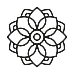 Simple Mandala Shape for Coloring. Vector Mandala. Floral. Flower. Oriental. Book Page. Outline.