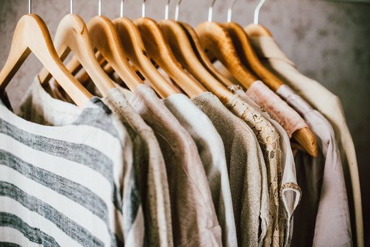 Collection of fashion clothes in beige colors