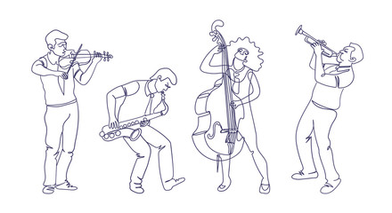 Jazz musicians illustration in continuous single line drawing style. Dynamic and minimalistic design. Isolated characters playing music.