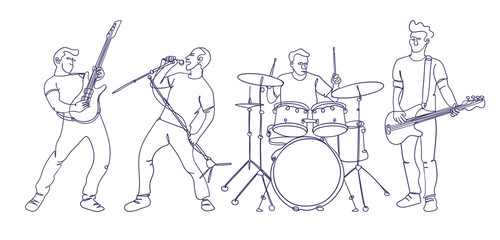 Rock musicians illustration in continuous single line drawing style. Dynamic and minimalistic design. Isolated characters playing rock music.