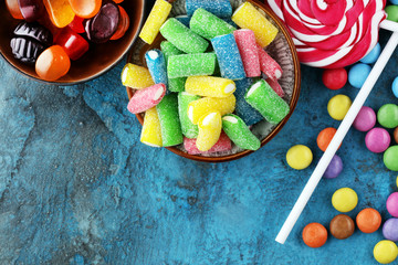 Canvas Prints Candy candies with jelly and sugar. colorful array of different childs sweets and treats.
