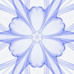 Creative mystic blue mandala. Kaleidoscope abstract wallpaper. Sacred geometry digital painting art. Magic fractal artwork. Symmetry meditate graphic design pattern. Print for fabric, textile or paper