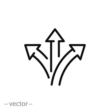 three arrow, way sign, road direction icon vector