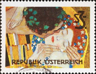 Detail from the Kiss by Klimt on austrian stamp