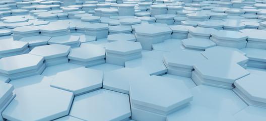 Blue hexagons background pattern 3D rendering