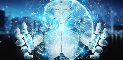 White humanoid woman using globe network hologram with Europe map 3D rendering
