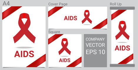 Mock up Realistic Aid icon with Red awareness ribbon on white background Banner.