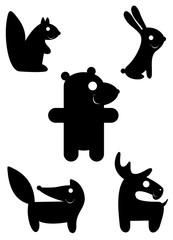 Cartoon funny animal silhouettes isolated illustration. Comic cartoon funny animals set for design black on white illustration